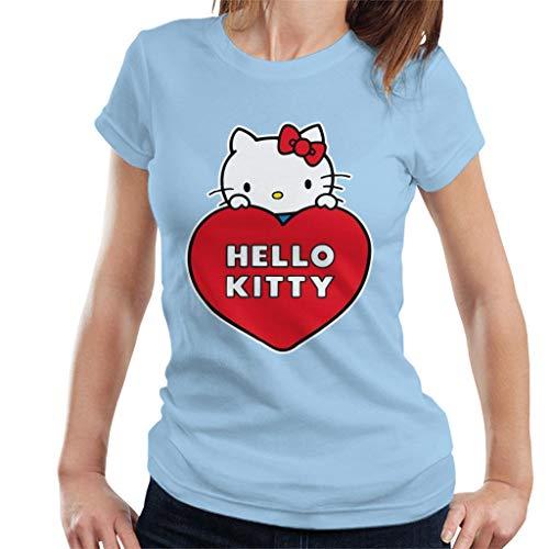 Hello Kitty Peeking Above Love Heart Women