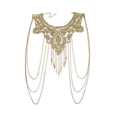 Amorar Körperkette Schmuck Gold Spitze mehrschichtig Quaste Halskette Bauchkette Bikini Strand Körper Bauch Schmuck für Damen Körperschmuck