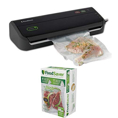 FoodSaver FM2000 Vacuum Sealer System with Starter Bag/Roll Set and 8' & 11' Vacuum Heat-Seal Rolls