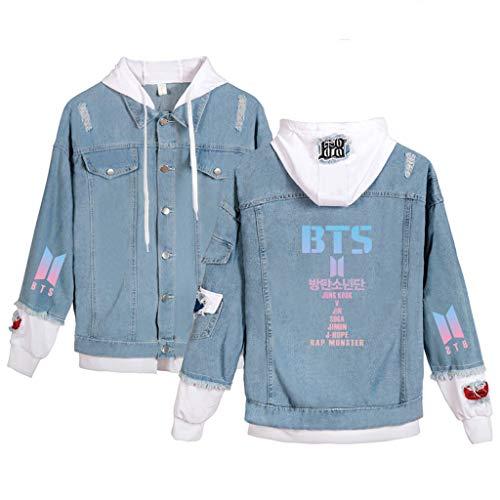 Aopostall BTS Merchandise, Kpop BTS Jeansjacke Jimin Jungkook Suga V JHope Hoodie Jean Sweatshirt Pullover, Damen, Team G2, X-Large
