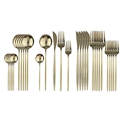 SHUAN QIAO 30Pcs Black Dinnerware Set Stainless Steel Dessert Fork Mirror Cutlery Set Tableware Set Flatware Set Home Accessories (Color : Champagne)
