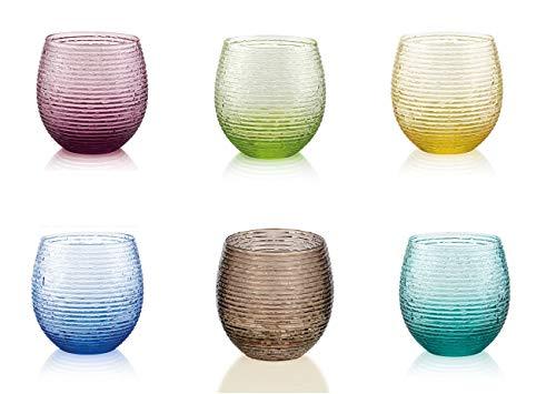 Set 6 Bicchieri Acqua Vino Trasparente Multicolore Vetro IVV 25 cl