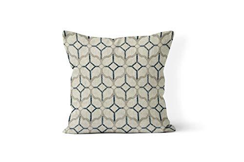 73Elley navy blue throw pillow cover nautical pillow cover 18x18 intan and navy decor coastal farmhouse decor trellis print geometric pillow cover