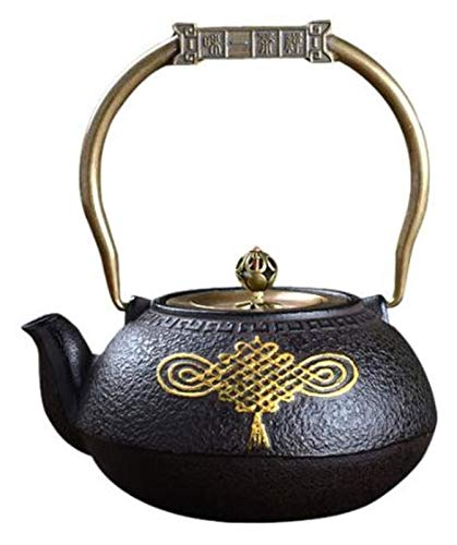 Glass teapot Kettle Cast Iron Teapot Heat Resistant Tea Strainers Small Cast Iron Easy Pour Retro Tea Maker for Home Restaurant Office Party 1200 ml Tetsubin Tea Set