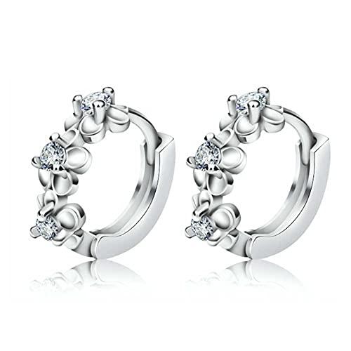 Nicejoy Mini pendientes de aro de flor de plata de ley con cierre para regalo de joyería de mujer.