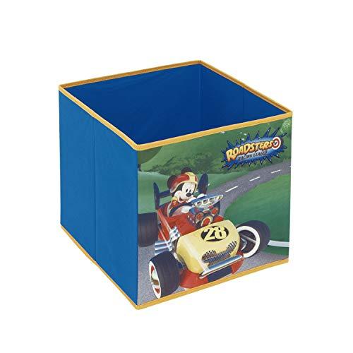 ARDITEX WD12125 Contenedor - Organizador Textil con Forma de Cubo Plegable de 31x31x31cm de Disney-Mickey Super Pilotos