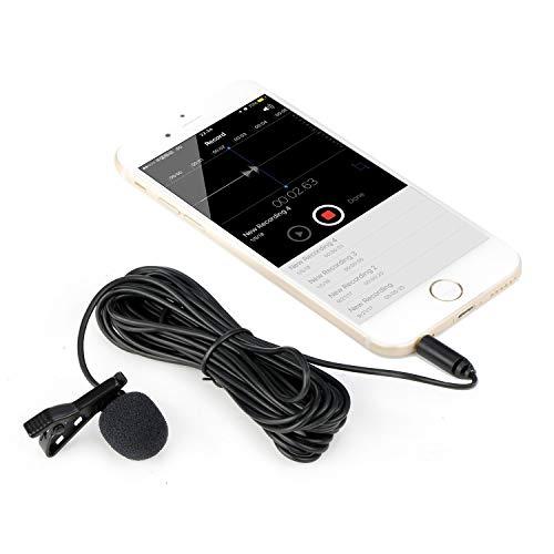 Mouriv CM205 Ultimate Microfono Lavalier per Bloggers e Vlogger Risvolto Mic Clip-on Condensatore omnidirezionale per Iphone Ipad Samsung Android Windows Smartphones per Vlogging Facebook Youtube