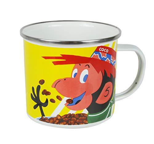 Kelloggs Coco Pops - Taza de camping esmaltada, irrompible, estilo retro, para té, café y chocolate caliente, tazas perfectas para niños y adultos