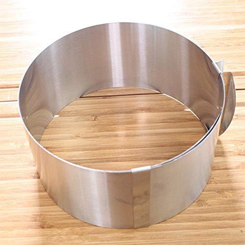 DACCU Inschuim RVS cirkelvormige schuimring cake bakken tool set grootte verstelbare bakvormen zilver voor keukengereedschap