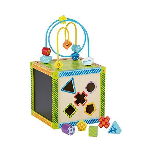 solini Le cube d'activités avec parcours à billes jeu d'éveil bébé, multicolore/naturel