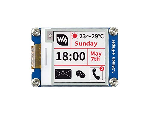 Waveshare 1.54Inch E-Paper Display Module(B) V2,200x200 Resolution 3.3v/5v E-Ink Electronic Screen with Embedded Controller,Red Black White Three-Color for Raspberry Pi/Jetson Nano/Arduino/STM32