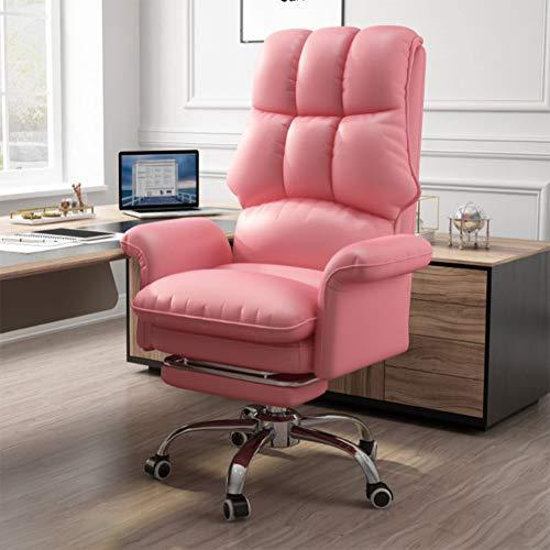 Gaming Stuhl BüRostuhl Schreibtischstuhl Mit Wippfunktion Gamer Stuhl HöHenverstellbarer Drehstuhl Pc Stuhl Ergonomischer Chefsessel, Wasserdicht Mit Klappbarer FußStüTze,Rosa