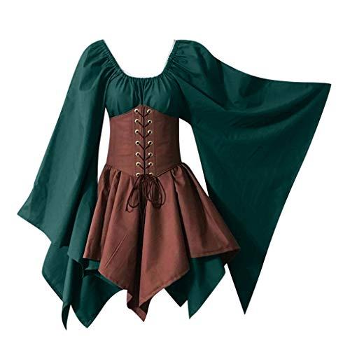 Wolfleague Femme Robe Médiévale Renaissance Robe Gothique Costume Manche Longue Déguisement Robe de Soirée Vintage Retro (S, Vert Kaki)