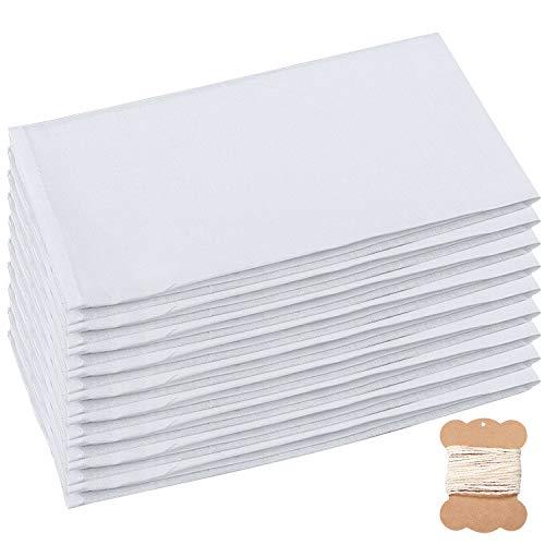 Elcoho 9 Stück quadratisch weicher Musselin reine Baumwolle Tuch Seihtuch mit Kochschnur mit exquisiter Karte zum Dämpfen, Obst, Siebfiltern, Wein und Milchfilter für Zuhause (50 x 50 cm)