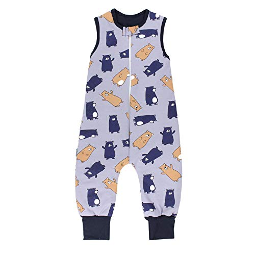 TupTam Baby Unisex Winter Schlafsack mit Beinen, Farbe: Bärchen Grau/Blau, Größe: 104-110