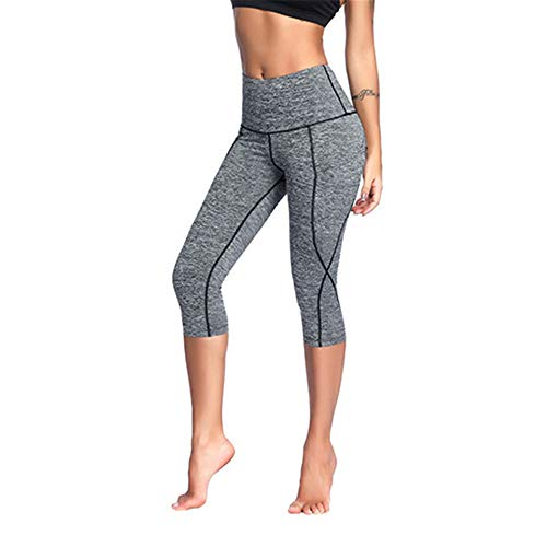 WY1688 Damen Leggings, Lange Blickdicht Yoga Hose Sporthose Fitnesshose Lange Yogahose Sporthose Fitnesshose Laufhose 3/4 Training Tights B-Gray 3XL