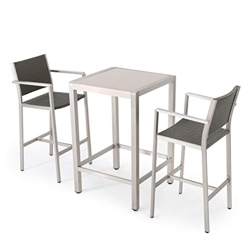 Crested Bay Patio Furniture ~ 3 Piece Grey Outdoor Wicker and Aluminum Bar Set