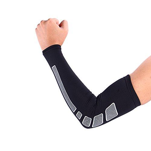 1 Paar Armbandage Kompressions-Ellenbogenbandagen Arm Sleeve Ellenbogen Schoner UV-Schutz Atmungsaktiv Herren Damen für Outdoor Basketball, Joggen, Fitness Sport ( Farbe : Schwarz , Abmessung : L )