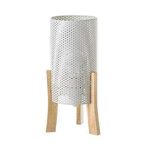 Lámpara de mesita de noche cilíndrica nórdica de metal y madera blanca de 29x14x14 cm