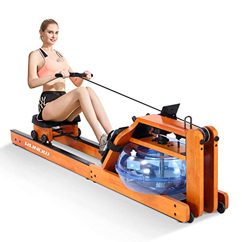 RUNOW Water Rowing Machine for Home Use,Oak Wood Rower Machine with LCD Monitor,Water Resistance Rowing Machine with Stainless Steel Blades