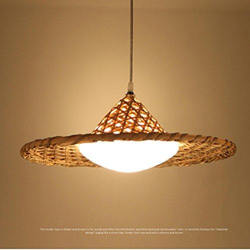 GRFH Natural Rustic Bamboo Restaurant Lampes suspendues Designer Bar Café Chapeau de Paille Lampe de Bambou LED Plafonnier