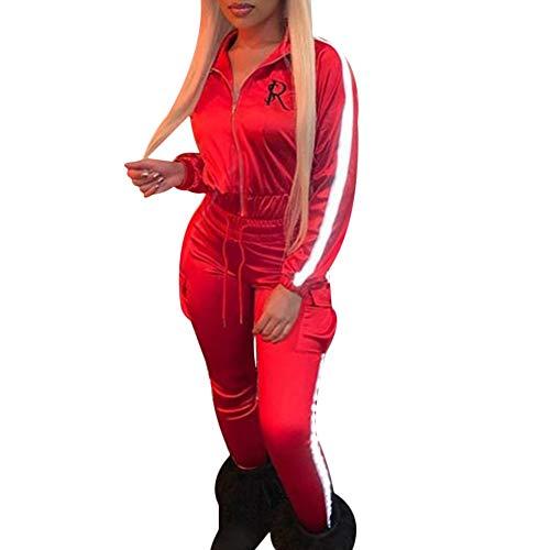 Tidecc Damen-Trainingsanzug-Set, reflektierende Streifen, Reißverschluss, Sweatshirt, Jogginghose, Satin-Outfit, Jogginganzug Gr. 36-38, rot