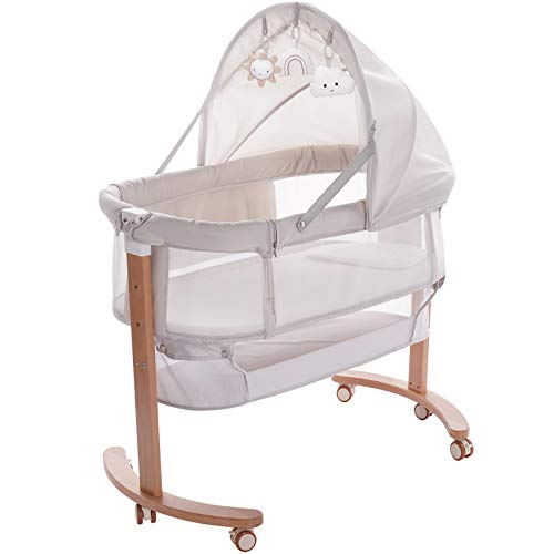 little dove Wooden Baby Bassinet Bedside Sleeper with Storage Basket and Adjustable Canopy 3 Hanging Toys Newborn Cosleeping Cribs for Infant Boy Girl Multi-Functional Bedside Sleeper