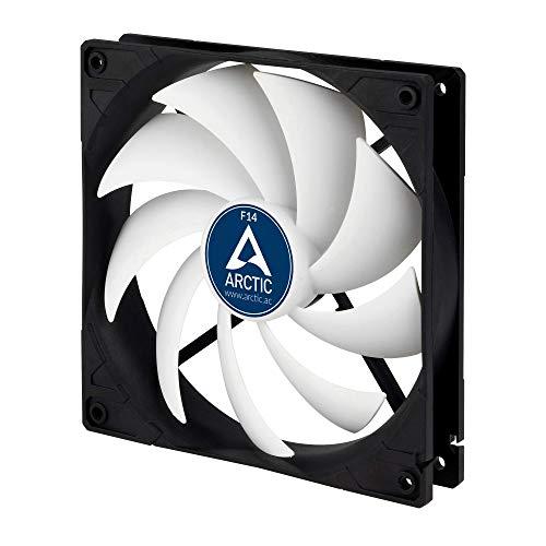 ARCTIC F14 Series – 140 mm Ventilador de Caja para CPU, Motor Muy Silencioso, Computadora, 1350 RPM – Negro/Blanco