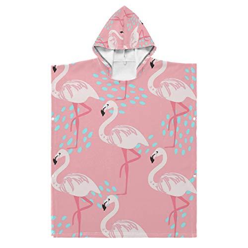 LENNEL Serviette de Plage à Capuche en Coton Peignoir de Bain Cape 27,55 x 27,55 Pouces Durable Belle Flamingo Soft Kids pour Piscine Parc Aquatique de Source Chaude