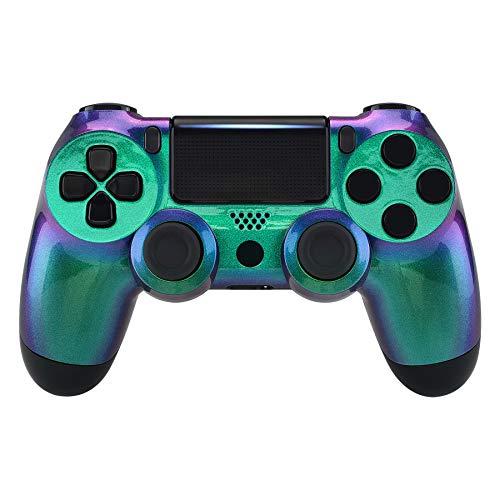 eXtremeRate PS4 Controller Gehäuse Obere Case Hülle Cover Schale Schutzhülle Ersatz Soft Touch Skin Shell für Playstation 4 PS4 Controller JDM-040 JDM-050 JDM-055(Grün-Lila)