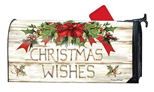 Mailwraps Studio M Christmas Wishes, Winter Christmas, The Original Magnetic Mailbox Cover, Made in USA, Superior Weather Durability, Standard Size fits 6.5W x 19L Inch Mailbox