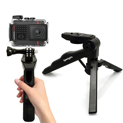 igadgitz 2 en 1 Pistola Mano Estabilizador & Mini Ligera Trípode de Mesa + Adaptador Soporte con Tornillo Fijador para Garmin Virb Action Cams HD, Ultra 30, X, XE