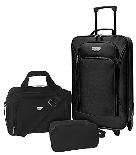 Travelers Club Euro II 3-Piece Softside Luggage Set, black