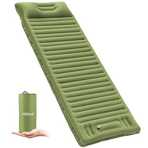 YISSVIC Colchoneta hinchable autoinflable con cojín, versión más gruesa, para camping, senderismo, verde militar