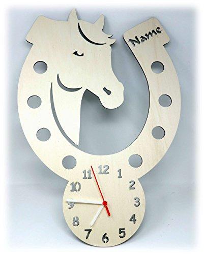 Wand Uhr Pferd Pferde Sachen mit Name Deko Zubehör Geschenk für Mädchen Kinderzimmer Einschulung