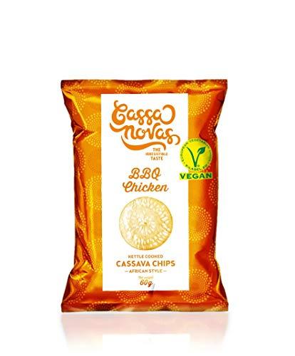 CASSANOVAS - Cassava Chips - Maniok Chips - 1 Karton = 8 Pack a' 60g - BBQ Chicken