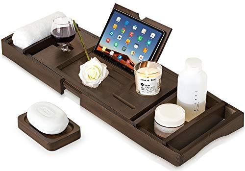 eletecpro Badewannenablage Bambus Verstellbar Badewannenbretter 75-110cm Badewannetablett mit Bücher oder Tablets Halter 2X Handtuch Boxen, 1x Seifenhalter, Tablett für Baden Organizer