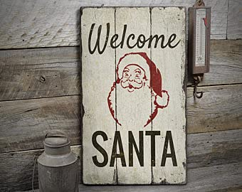 free brand Señal de bienvenida de Papá Noel, señal de decoración de Navidad, señal de regalo de Papá Noel, cartel de madera, rústico hecho a mano vintage decoración de madera