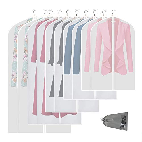 VICKERT Hanging Garment Bag Lightweight Suit Bags, 10 Pack Clear Full Zipper Suit Bags PEVA Moth-Proof Breathable Dust Cover for Closet Clothes Storage