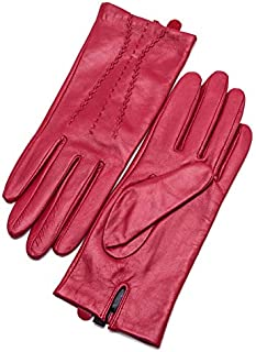 HAOXIONG-ZHANG Leather Gloves Women's Sparse Section Windshield Gloves Gloves (Color : RED, Size : M)
