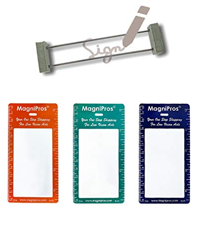 MagDepo 3 Bookmark Magnifiers Pocket Size, 3X Magnifying Glass Fresnel Lens, Reading Magnifier or as Accessory for ID Badge Holder Lanyards with 1 Bonus Vision Handicap Signature Guide