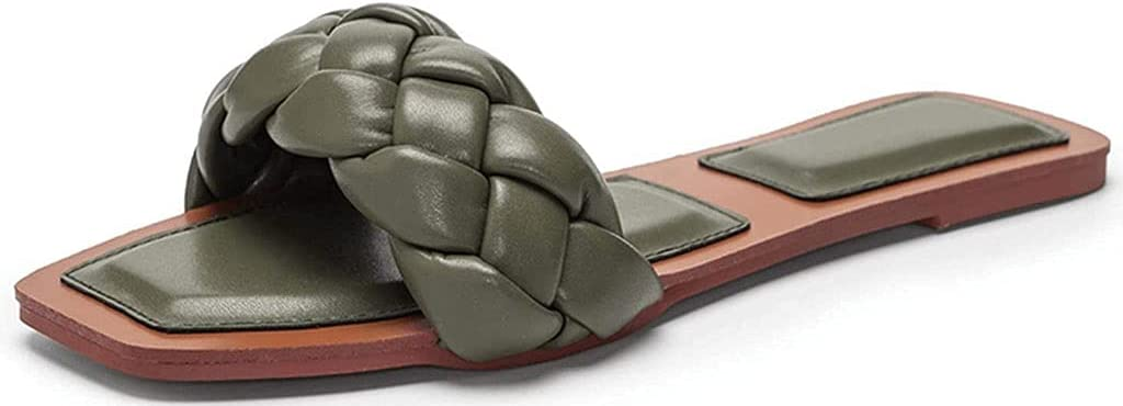 QUNHU Sandals Slipper, Womens Square Open Toe Flat Sandals Women's Summer Braided Strap Sandals Slip On Slides Size 37-42 EU (Color : Green, Size : 42EU)