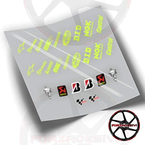 Pegatinas FA02 Stickers ADESIVO AUTOCOLLANTS AUFKLEBER Sponsors Moto GP Rossi 46 VIÑALES 12 Lorenzo 99 (Amarillo Fluor)