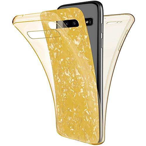 Herbests Kompatibel mit Samsung Galaxy S10 Handyhülle 360 Grad Hülle Crystal Full Cover Bling Glänzend Glitzer Transparent Durchsichtige Schutzhülle Doppel-Schutz Rundumschutz Hülle,Gelb