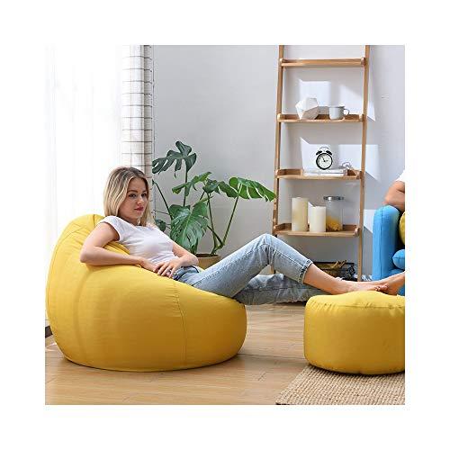 H-ei Lazy Couch Bean Bag Tatami Cojín Grueso Cómoda Casual Silla Multifuncional Dormitorio Sala de Estar Sofá de Tela con reposapiés (Color : Yellow, Size : L)