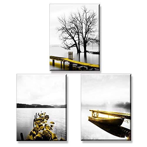 Piy Painting 3X Cuadro sobre Lienzo Imagen Hermoso Paisaje a la Orilla de Lago En Invierno Impresión Pinturas Murales Decoración Dibujo con Marco para Sala de Estar Decor 30x40cm