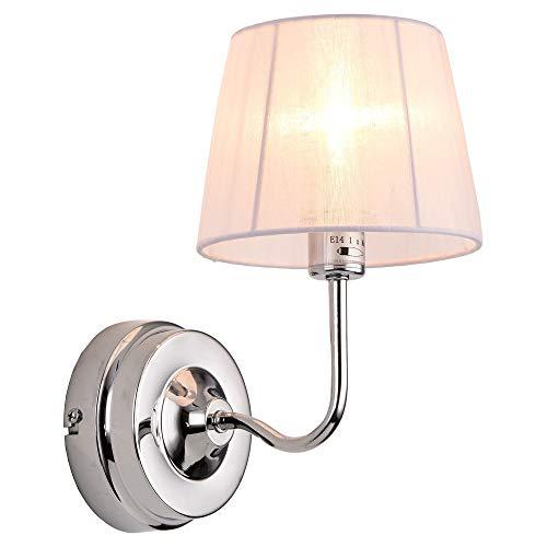 lux.pro] Lampada da Parete Moderna Bianca in Metallo, Tessuto - Paralume Circa 11,5 cm (sopra) - 15 cm (sotto)