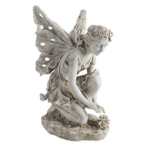 Design Toscano Fiona die Blumenfee Gartenstatue, Polyresin, antikes steingrau, 43 cm