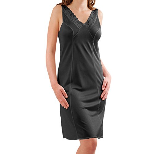 Graziella by Galeja Damen Unterkleid Unterrock mit Spitze 98 cm antistatisch Schwarz Gr. 50 Made in Germany