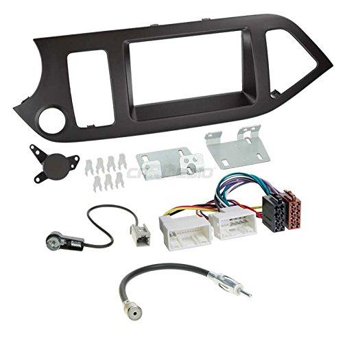 Carmedio Kia Picanto TA ab 11 2-DIN Autoradio Einbauset in original Plug&Play Qualität mit Antennenadapter Radioanschlusskabel Zubehör und Radioblende Einbaurahmen schwarz